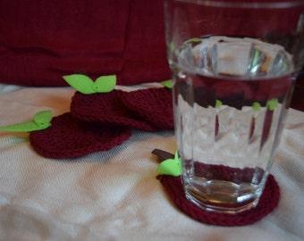 Fruit Crochet Coaster, Set of 4, 100% Cotton