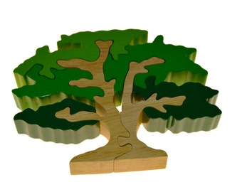 Oak Tree- - Wooden Puzzle, jigsaw puzzle, animal puzzle, educational puzzle, chunky puzzle, safe puzzle, colorful puzzles, holiday gifts