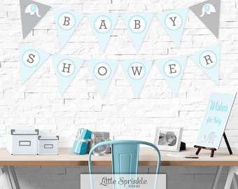 Elephant Baby Shower Bunting Banner Blue  / Baby Boy Shower Decorations / Elephant Baby Shower Banner / Printable Digital / INSTANT DOWNLOAD