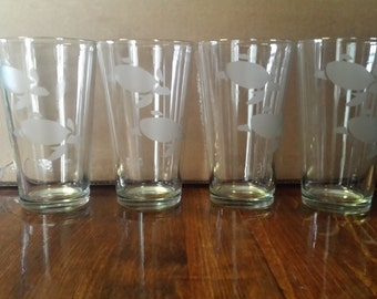 4 Personalized Etched Glass Cups