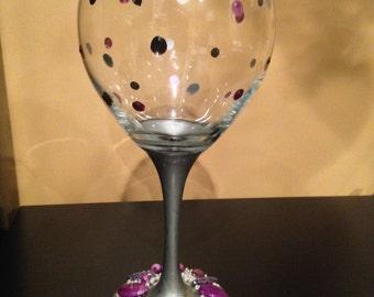 Set of 4 Personalized Jeweled Wine Glasses