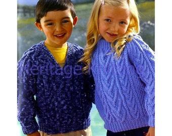 boys / girls v neck and round neck aran sweaters knitting pattern 99p