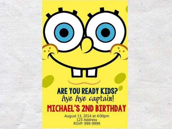 Spongebob birthday invitation invite spongebob invitation like this item solutioingenieria Gallery