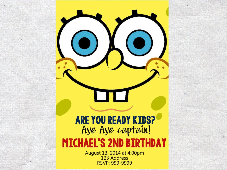 spongebob birthday invitation invite spongebob invitation