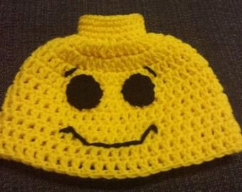 Crochet lego minifigure hat