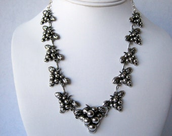Gorgeous Grape Clusters Sterling Silver Necklace from the 1940's, Renewed in 2015