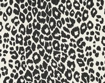 SCHUMACHER ICONIC LEOPARD Belgium Printed Linen Fabric 10 yards Graphite