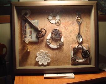 Steampunk Atlas Shadow Box of Art