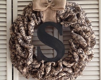Natural Black scroll burlap wreath w/ Initial & bow Monogram letter door spring summer fall winter outdoor door hanger christmas year round