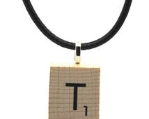 Wooden Scrabble Letter Necklace + black leather cord. Letter T . SKU006125