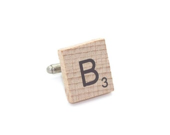 Wooden Scrabble Letter Cufflinks. ( Sold individually ) . Letter B . SKU005498