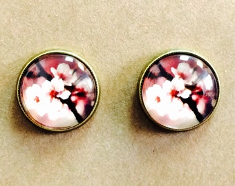 Pretty Pink and Red Japanese Cherry Blossom Antiqued Bronze Glass Dome Earrings (clip on available)