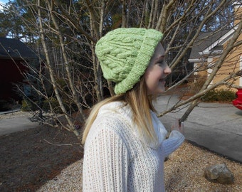 Sage green cable hat