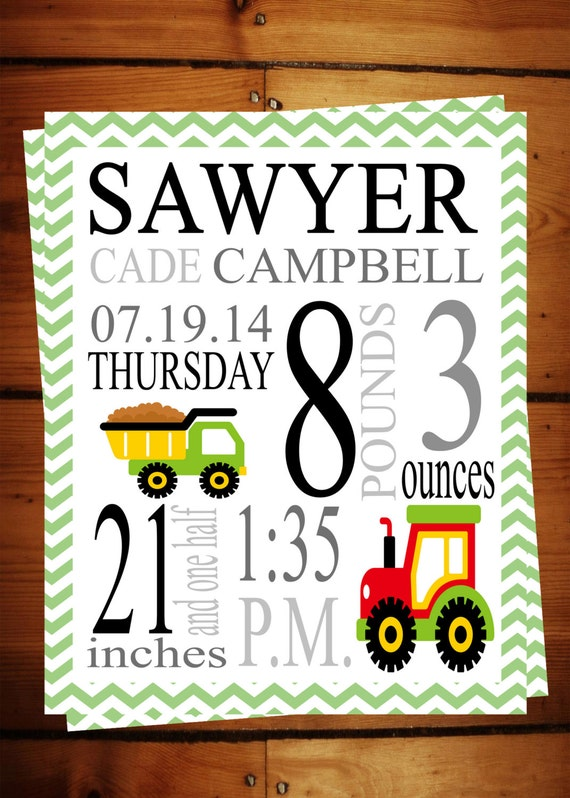 Baby Boy Birth Announcement / Poster by ASweetLifeDesigns