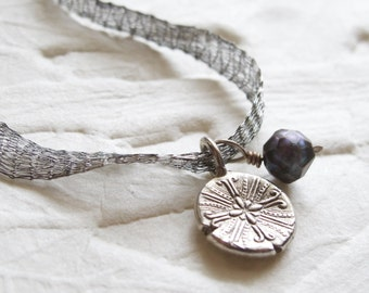 """Handmade Charm Necklace """"One of a Kind"""" - Fine Silver Charm-Titanium Mesh Ribbon-faceted black freshwater pearl accent"""