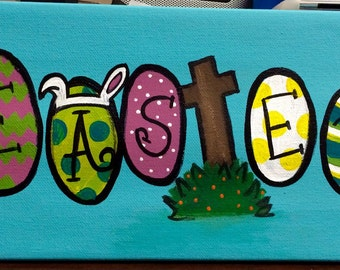 Easter Egg Painted Canvas