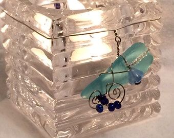 SALE!!  **  Wrapped Seaglass Decorated Votive Candle Holder, Glass, Votive, Wrapped Seaglass, Beach Glass, Candle Holder