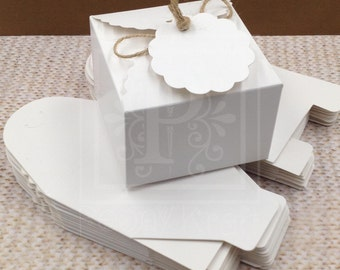 """Set of 25pcs - Favor Boxes with Tags, Party Favor Boxes, Holiday Gift Boxes, Candy Boxes, Cookie Boxes - Box Size 3 1/2"""""""
