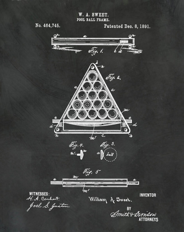 Patent 1891 Pool Ball Rack Patent Art Print Poster
