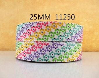 1 inch Diagonal Small Flowers 11250 - Printed Grosgrain Ribbon for Hair Bow