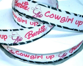 7/8 inch Cowgirl Up - Zebra Border Printed Grosgrain Ribbon for Hair Bow