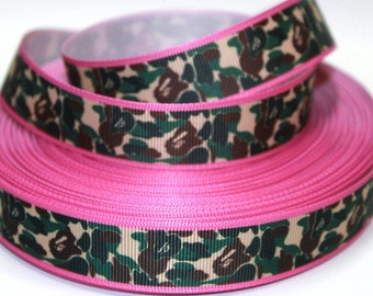 7/8 inch CAMOUFLAGE with Pink Border - Printed Grosgrain Ribbon for Hair Bow
