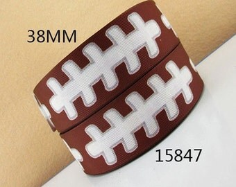 1.5 inch - White Football Laces on Brown - FOOTBALLS - SPORTS 15847 ( THICK ) - Printed Grosgrain Ribbon for Hair Bow 1 1/2