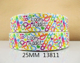 1 inch LOOM ADDICT MULTICOLOR - 13811 - Printed Grosgrain Ribbon for Hair Bow
