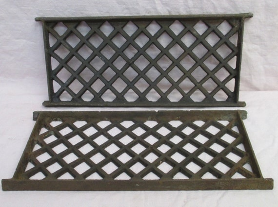 2 Flat Cast Iron Grates Fretwork Vent Covers Air Return