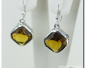 36 Carats Genuine BRANDY Citrine Hammered finish Italian Made 925 SOLID Sterling Silver Earrings E370