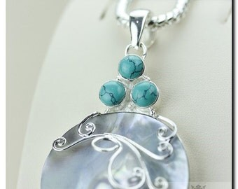 BLISTER Biwa Mabe PEARL TURQUOISE 925 Solid Sterling Silver Pendant + 4mm Snake Chain & Free Worldwide Shipping P1729