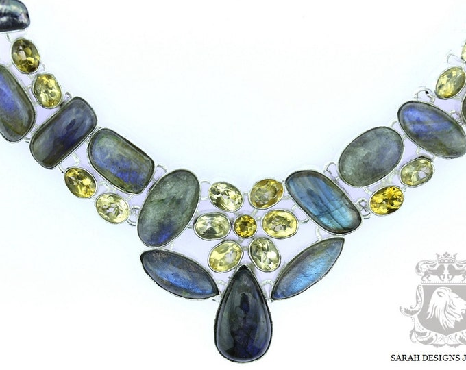 Canadian Labradorite Lemon Topaz Citrine 925 SOLID Sterling Silver Necklace  N139