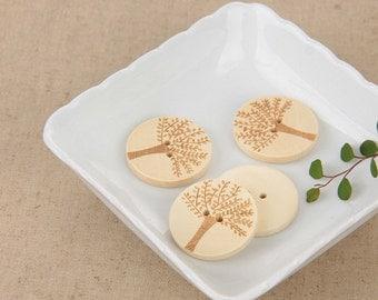 5 pcs Leaf Pattern Wooden Buttons 30mmx30mm(54-1)