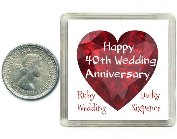 Ruby Wedding Anniversary Gifts: Lucky Silver Sixpence Coin. 40th Ruby Wedding Anniversary