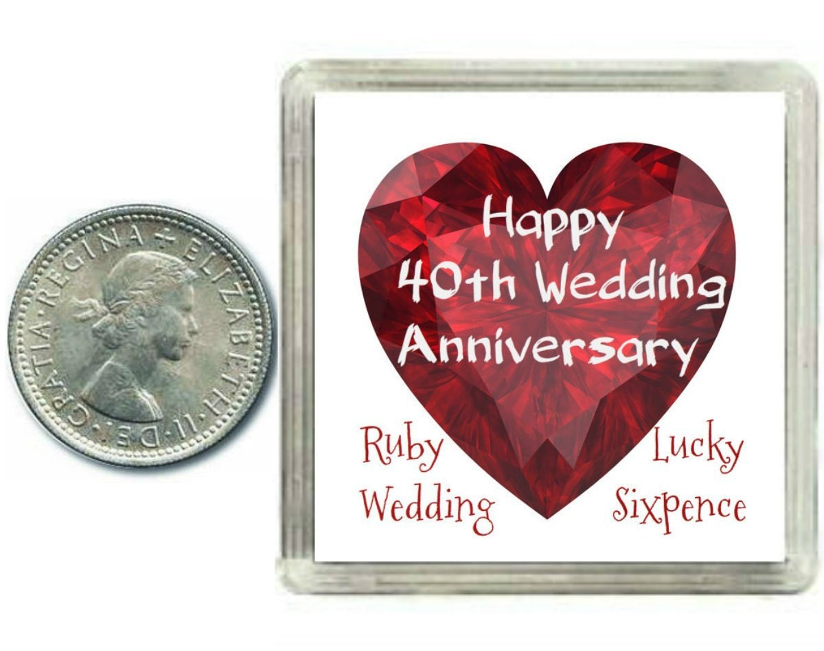 Unusual Ruby Wedding Gifts: Lucky Silver Sixpence Coin. 40th Ruby Wedding Anniversary