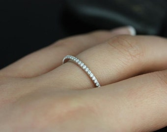 1.5mm HALFWAY Eternity 0.25ct  F/G VS2/SI1  Micro Pave Diamond Eternity Band in 14k White Gold