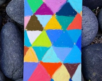 """Color Experiment. 4.5""""x3.5"""" - Original Pastel on Paper Painting. Art, cute, gift idea, home, decoration, triangle, colorful, quilt"""