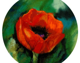 """Poppy. 5""""1/4 Diameter - Original Pastel on Paper Painting. Art, colorful, cute, gift idea, home, decoration, orange, red, flower,poppies"""