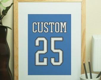 Custom Home Decor- Custom Name Jersey Print with Custom Number Wall Art