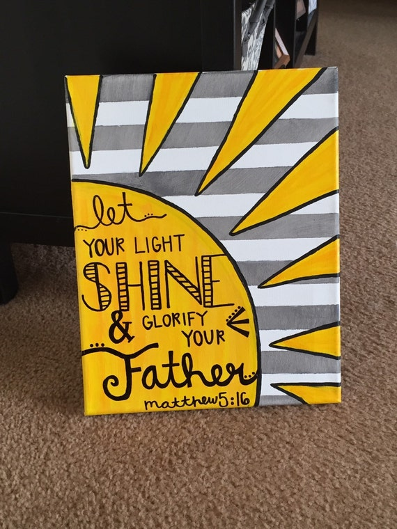 let your light shine craft ideas matthew 5 16 canvas by canvascats on etsy 7812