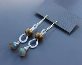 Labradorite Silver and Brass Earrings