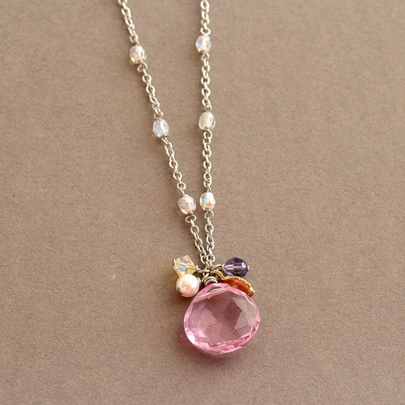 Pink Drop Pendant White Glass Wire Wrapped Necklace Simple