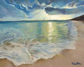 Summer love, oil painting 18x24, beach scene,ocean, wall art, home decor, painted on fine linen canvas