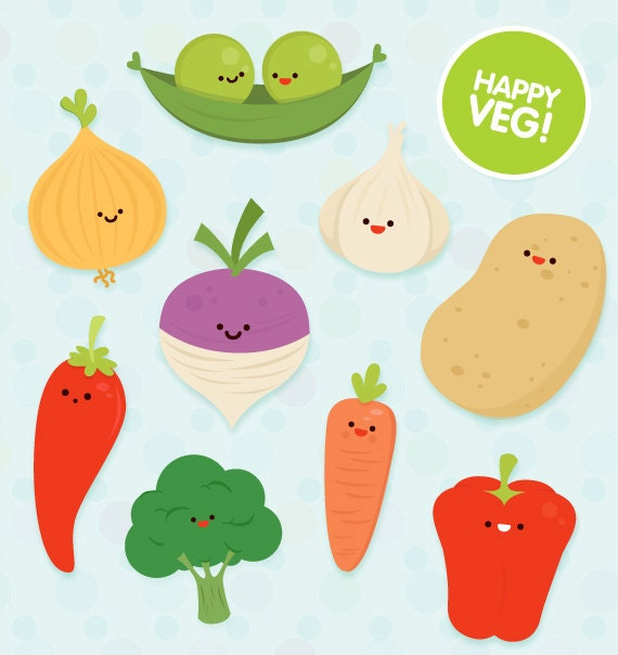 Items similar to Veg clipart commercial use, cute vector ...
