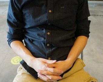 BuFan Handmade Men's Casual Navy Blue Shirt Long Sleeve 100% Cotton