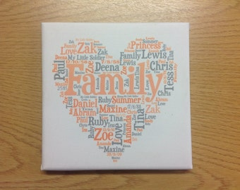 Family wordart canvas