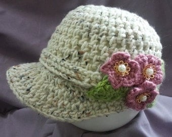 Toddler Crocheted Posey Cap - Open stitch hat with floral accents