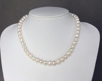 Necklace High Luster FW White Pearls 10mm Baroque NHPW0098