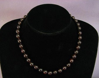 Necklace Set Dark Red Garnet 10mm Round Beads NSGR5450