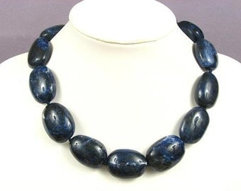 Necklace Sodalite 30-34mm Nuggets 925 NSSD5096
